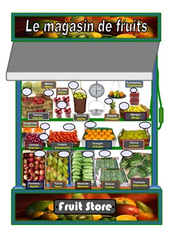 Fruit Store Bilingual A3 Poster.French/English