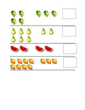 Fruit Subtraction File Folder game