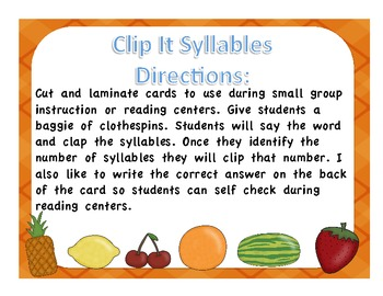 Fruit Syllable Clip It Center