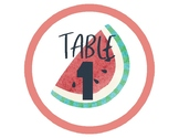 Fruit: Table Signs (Numbers)