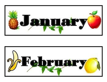 Fruit Calendar! Fruit Bulletin Board! Fruit Classroom! Fruit Theme Calendar!