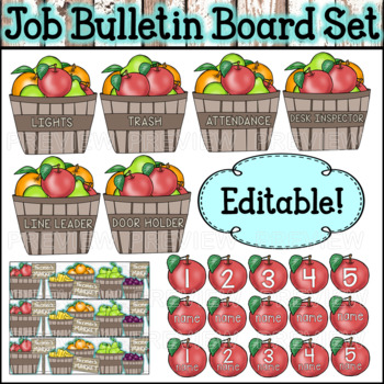 Fruit Themed Classroom Job Bulletin Board ⭐Editable!⭐