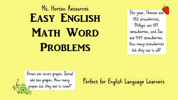 18 Addition Word Problems (EAL/ESL Friendly)