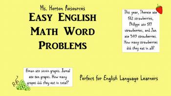 18 Addition Word Problems (EAL/ESL Friendly)