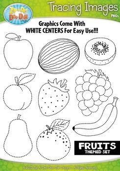 Fruit Tracing Image Clipart {Zip-A-Dee-Doo-Dah Designs}