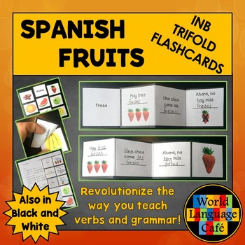 Spanish Fruits Interactive Notebook Trifold Flashcards