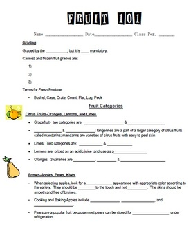 Fruit Unit Bundle for culinary arts course- include powerpoint, notes, etc