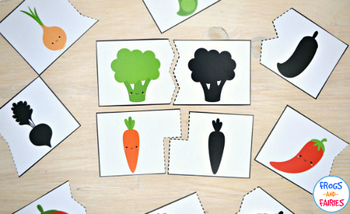 Fruit & Vegetable Shadow Matching Puzzle and Clip Card Pack