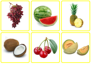 Photo Picture Cards *54 FRUIT & VEGETABLES* 3 Formats 3.5x3.7""