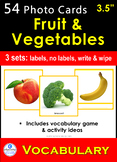 """Photo Picture Cards *54 FRUIT & VEGETABLES* 3 Formats 3.5x3.7"""""""