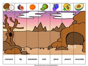 Fruit & Vegetables Vocabulary Building Interactive Puzzles + Worksheets