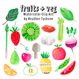 Fruit + Vegetables Watercolor Clip Art