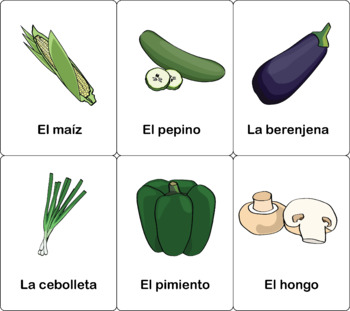 Fruit & Vegetables in English and Spanish Flashcards (Color and BW)