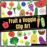 Fruits & Vegetables Clip Art (Color and Black & White)