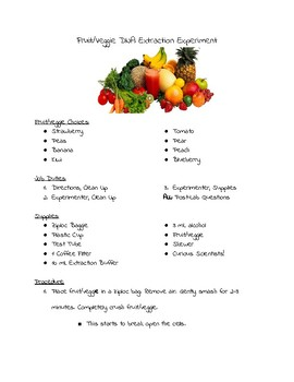 Fruit/Veggie DNA Extraction Lab
