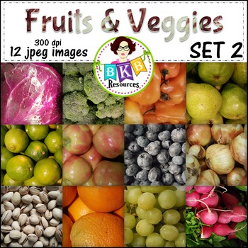 Fruit & Veggies Background Papers Set 2 -{Graphics for Commercial Use}