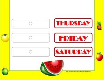 Fruit Weekday Chart! Fruit Bulletin Board! Fruit Theme! Fruit Days of the Week!