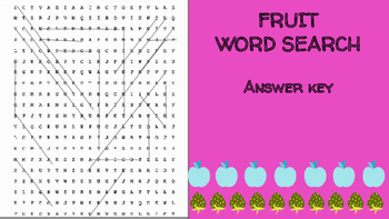 Fruit Word Search; FACS, Culinary Arts, Bellringer, Healthy Foods, Vocabulary