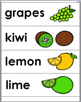 Fruit Word Wall Cards – Fruit Vocabulary