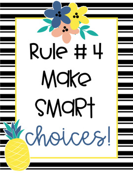 Fruit and Floral Editable Classroom Rules Posters