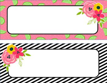 Fruit and Floral Editable Name Plates- Classroom Theme Decor