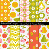 Retro Fruit and Flower Patterns