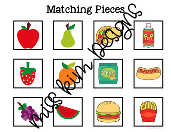 Fruit and Junk Food Sorting File Folder Game for Special Education