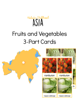 Fruit and Vegetable 3-Part Cards from Asia