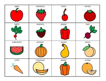 Fruit and Vegetable COLOR SORTING activity, SPEECH THERAPY, Autism, Vocabulary
