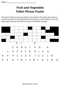 Fruit and Vegetable Fallen Puzzle