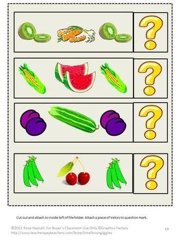 Life Skills, Fruits Vegetables, Sorting, File Folder Games, Special Education
