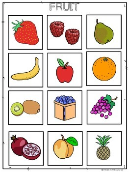 Fruit and Vegetable File Folders