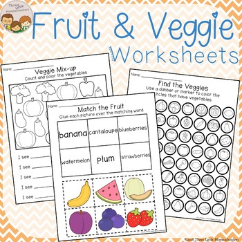 Fruit and Vegetable Themed Worksheets - Cut & Paste Count & Color and more