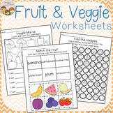 Fruit and Vegetable Themed Worksheets - Cut & Paste Count