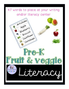 Fruit and Vegetable Word Wall Words