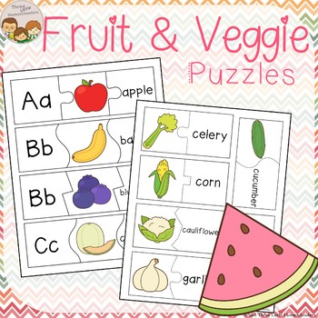 Fruit and Vegetable Word and Letter Puzzles by Three Little