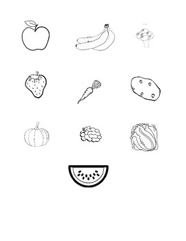 Fruit and Vegetable cut and paste worksheet