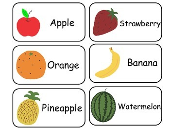 Fruit and Vegetable printable Picture Word Flash Cards. Preschool Nutrition.