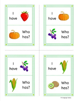 Fruit and Vegetables 'I have ... Who has...? Game for ESL, EAL, EFL