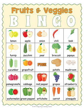Fruit and Vegetables Bingo Game