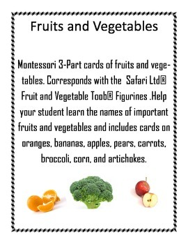 Fruit and Vegetables Montessori 3-part cards