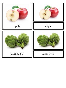 Fruit and Vegetables Montessori 3-part cards for Safari Toob