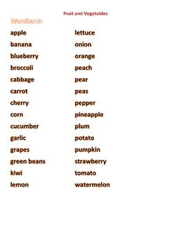 Fruit and Vegetables Set