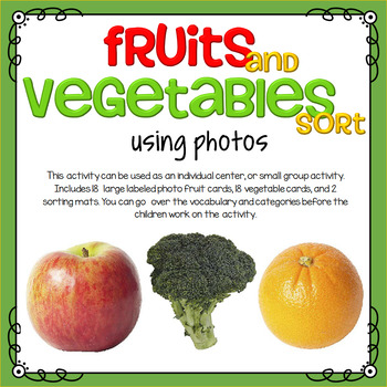 fruit and vegetables sorting using photos by kidsparkz tpt. Black Bedroom Furniture Sets. Home Design Ideas