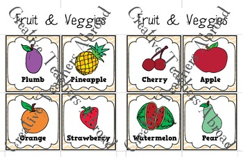 Fruit and Veggie Flash Cards