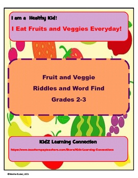 Fruit and Veggie Riddle and Word Find Fun