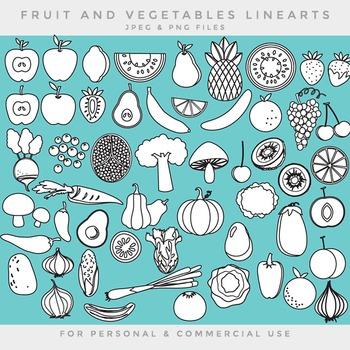 Fruit and vegetable lineart line art blacklines black lines veggies