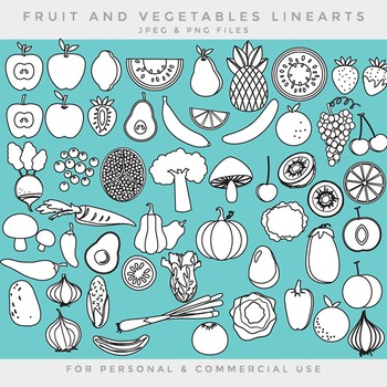Fruit and vegetable lineart line art blacklines black line