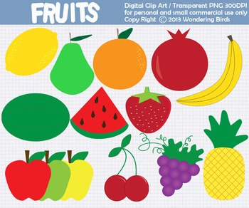 Fruit clip art - set of 14 clip arts