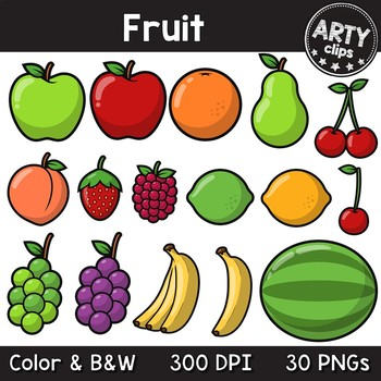 Fruit clipart (color + black & white) 30 PNG {Arty Clips}
